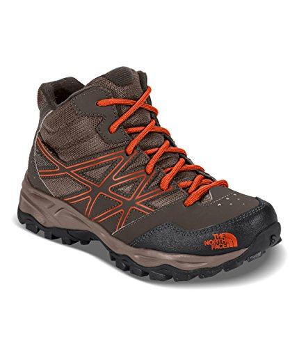 The North Face Youth Hedgehog Hiker Mid Waterproof Hiking Shoe Coffee Brown/Orange Size 1.5 M US