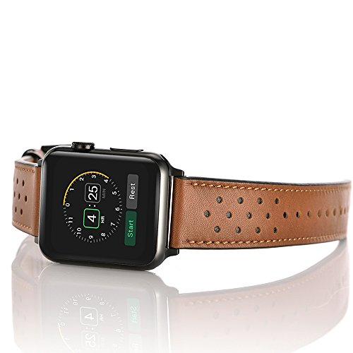 Mifa - Apple Watch band black Leather Replacement Bands straps for series 1 2 3 38mm or 42mm in Black or Brown