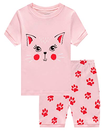 Family Feeling Little Girls Cat Summer Pajamas Short Sets 100% Cotton Pjs 6