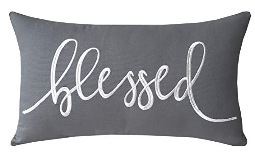 EURASIA DECOR DecorHouzz Pillowcase Farmhouse Embroidered Home Throw Pillow Cover Funny Quote Cushion Cover for Housewarming Guest Porch Wedding Anniversary Couple (12X20, Blessed(Grey))