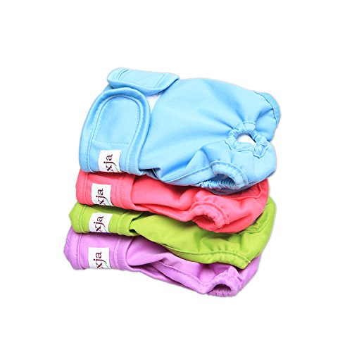 LUXJA Reusable Female Dog Diapers (Pack of 4), Washable Wraps for Female Dog (X-Small, Sky Blue+Purple+Green+Rose Red)
