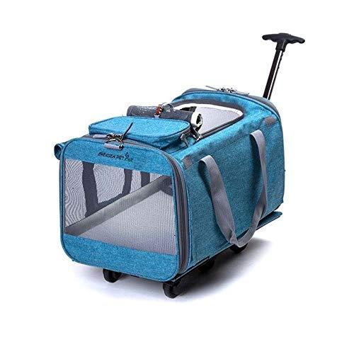 Bolls 折りたたみペットローリング荷物スピナー猫と犬スーツケースホイール 20 インチにキャリートロリーペット旅行バッグホイール B07QWW6DWZ ブルー 20\
