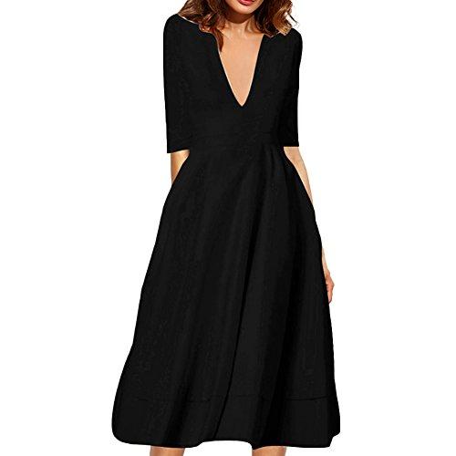 Chicfor Femmes Robe Profonde Encolure V Manches Demi Taille Froncée Robe Élégante Midi Swing Tunique Noire