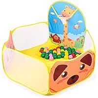 Alberca de Pelotas Plegable Papubaby con canasta. Baby Play Tent (Pelotas no incluidas) (Amarillo)