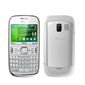 """Nokia Asha 302 Unlocked GSM Phone with 3.2MP Camera, Video, QWERTY Keyboard, Wi-Fi, Bluetooth, FM Radio, SNS Integration, MP3/MP4 Player and microSD Slot - White International Version/Warranty"