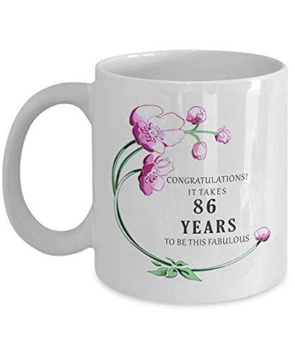 86th Birthday Gift for Women Her Mug 1932 86 th Eighty Six Year Decorations Cake Topper Banner Ideas Coffee Tea Cup]()