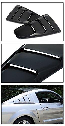VXMOTOR 2005-2014 Ford Mustang Black GT3 Vent Rear 1//4 Quarter Side Vent Window Louvers V2