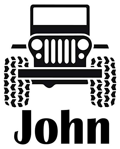 Personalized Name Decal Boy's Nursery Room Kid's Bed Room Wall Decal Car Jeep Vinyl Sticker Wall Decor Home Interior Design Art Mural (22