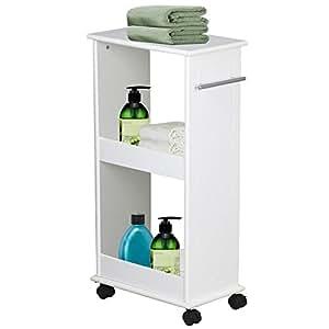 Yaheetech Slimline Rolling Bathroom Kitchen Organizer Narrow Storage Cart 2  Shelf Space Saver