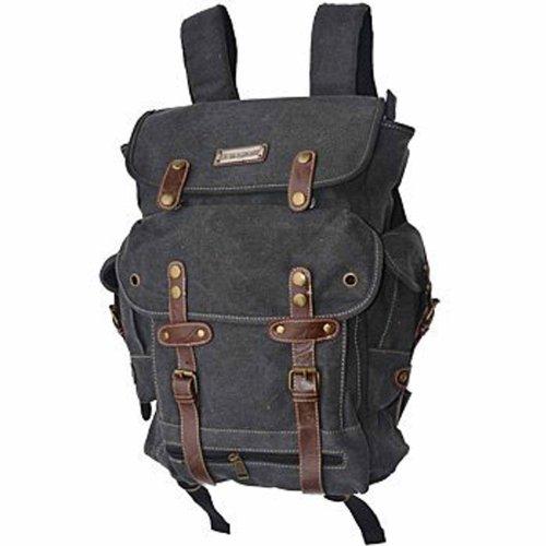 EuroSport WWII Canvas Backpack Bag (Black) (Eurosport Canvas Backpack)