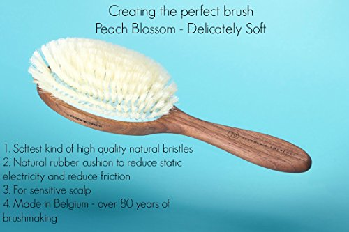 Delicately Soft Natural Hair Brush for Sensitive Scalps and Thinning Hair - Handcrafted Belgian Walnut Wood Handle Natural Bristle Brush, Peach Blossom Hair Brush, by Delphin & Emerence by Delphin & Emerence (Image #7)