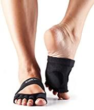 ToeSox Women's Releve Half Toe Grip for Dance, Yoga, Pilates, and Barre Toe Socks with Leather