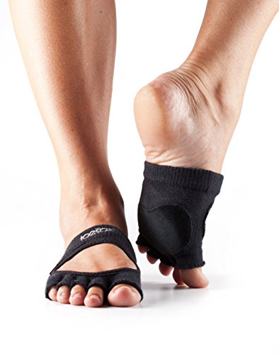 ToeSox Women's Releve Half Toe Grip for Dance, Yoga, Pilates, and Barre Toe Socks With LEATHER PAD (Black) Medium