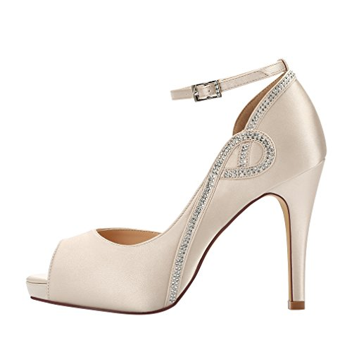 with paypal sale online ERIJUNOR Women Peep Toe Side Open Rhinestones Comfortable Platform Satin Bridal Wedding Party Shoes Champagne brand new unisex online finishline online dPyOrUhdTj