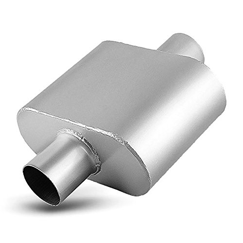 2.5 Inch Single Chamber Muffler, AUTOSAVER88 2-1/2 Universal Race Muffler Stainless Steel Single Inlet Single Outlet High Flow Exhaust Muffler