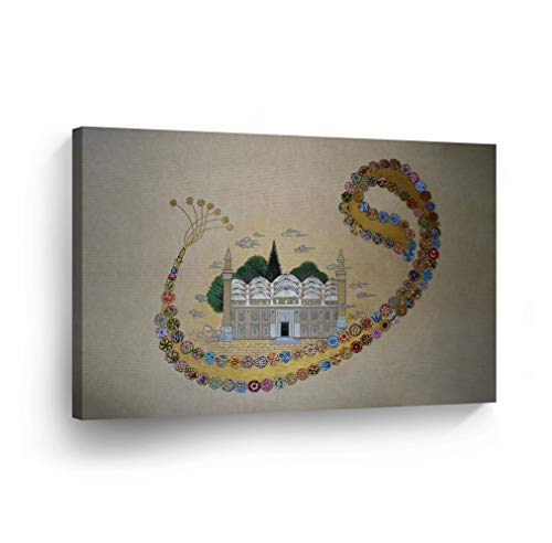 Islamic Wall Art Mosque and Waw, Vav Letter with Flowers Canvas Print Home Decor Arabic Calligraphy Decorative Artwork Gallery Stretched and Ready to Hang - %100 Handmade in the USA - 8x12 by SmileArtDesign