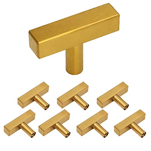 Knobs Matte Drawer (goldenwarm Cabinet Handles Gold Drawer Pulls 8 Pack HD1212GD Kitchen Cabinet Handles 2in(50mm) Single Hole Knobs Modern Gold Harware Drawer Handles Gold Knobs for Dresser)