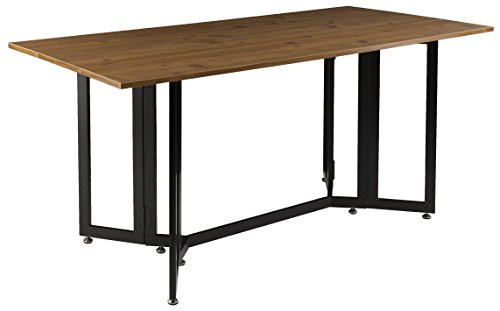 ss Drop Leaf Console Dining Table, Weathered Oak Finish with Black Metal Base (Contemporary Drop Leaf Table)