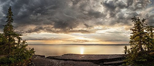 Storm Clouds Over Lake Superior  Thunder Bay  Ontario  Canada Poster Print  32 X 14