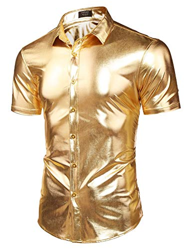 COOFANDY Men's Metallic Button Down Short Sleeves Shirts for Disco Dance Nightclub Costume Party -