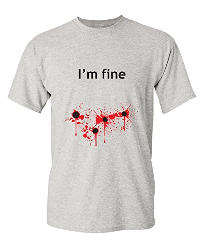 I'm Fine Graphic Zombie Slash Movie Halloween Injury Novelty Cool Funny T Shirt 3XL Ash2