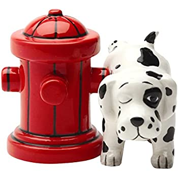 Pacific Giftware Dalmation Dog with Fire Hydrant Ceramic Magnetic Salt & Pepper Shaker Set Novelty Gift