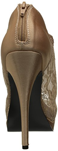 Fabulicious Elegante High Heels Ankle Peep Toe Pumps BELLA-26 Satin Rotbraun, Größe F:8 US / 38