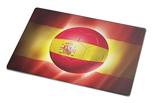 Rikki Knight Brazil World Cup 2014 Spain Team Football Soccer Flag Large Glass Cutting Board Workspace Saver, 15.3 x 11.3-Inch by Rikki Knight