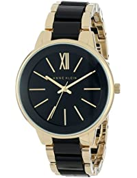 Womens AK/1412BKGB Gold-Tone and Black Dress Watch
