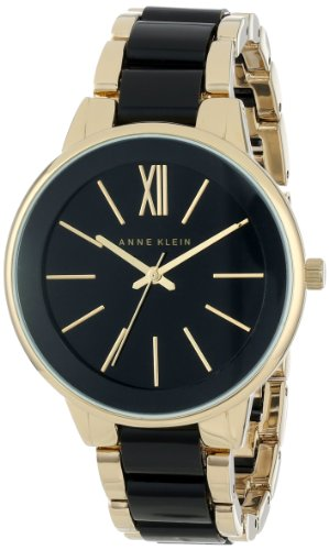 Anne Klein Women's AK/1412BKGB Gold-Tone and Black Dress Watch ()