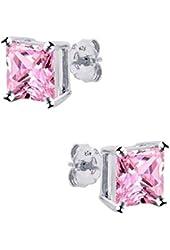 .925 Sterling Silver Princess Cut Pink Cubic Zirconia Stud Earrings