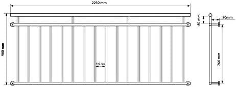 ECD Germany French balcony 225 x 90 cm balcony railing rail window guard rail bars balcony protection grille balustrades handrail window grille juliet french balcony powder coated steel anthracite