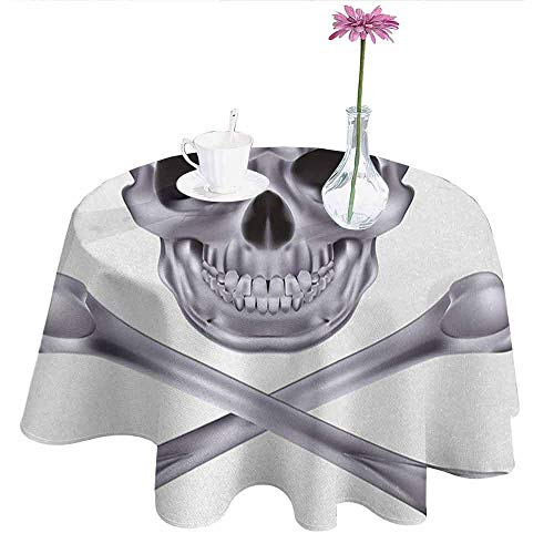 Douglas Hill Silver Printed Tablecloth Vivid Skull and Crossbones Dangerous Scary Dead Skeleton Evil Face Halloween Theme Desktop Protection pad D40 Inch Dimgray]()