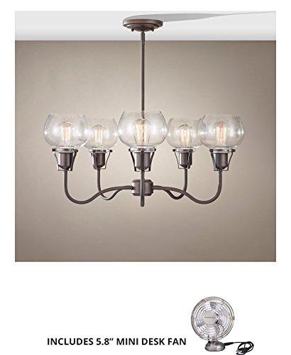 (Feiss F2824/5RI, Urban Renewal Mini Glass ChandelierLT, 5LT, 500watt, Rustic Iron (Includes Mini Desk Fan))