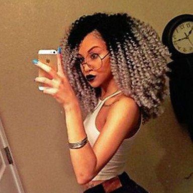 Peluca de encaje sintético para mujer con peluca frontal, corta, rizada, negra/