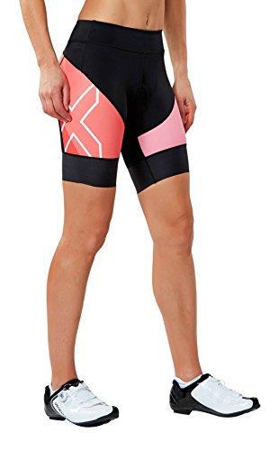 2XU Women's X-Vent Cycle Shorts, Black/Fiery Coral, Small (2xu Compression Cycle Short)