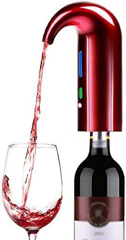 MQQ 電気ワインデカンターエアレーターデカンターポンプディスペンサーセット電気エアレーションとデカンターワインスパウトプーラー赤白ワインアクセサリーワイン愛好家のためのエアレーション (Color : Red)