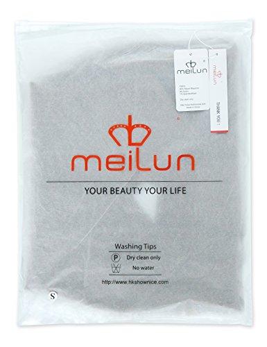 Meilun Women's Rayon 2 Pcs Long Sleeve Crop Top Split Skirt Set Bodycon Bandage Party Dress Large Black by Meilun (Image #2)