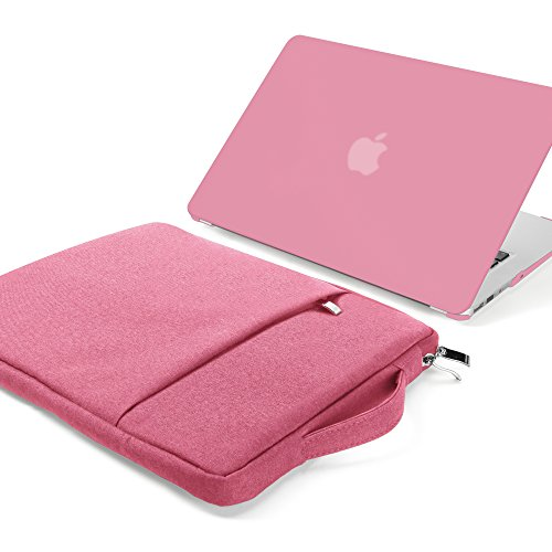 GMYLE MacBook Air 13 Inch A1369/A1466 (2008-2016,2017 Release) 2 in 1 Bundle, Scratch Guard Hard Matte Case and 13-13.3 Inch Carrying Laptop Sleeve Bag with Handle & Pocket - Pink Set