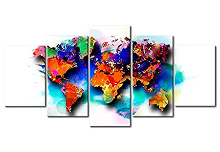 39.4x19.7 Non-Woven Canvas Prints Image Framed Artwork Painting Picture Photo Home Decoration 5 Pieces Concrete k-A-0430-b-m murando Canvas Wall Art World map 100x50 cm