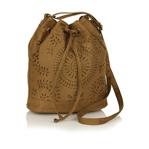 Boho Chocolate Brown Laser Cut Out Purse, Soft Faux Suede Drawstring Bucket - Suede Bag Utility