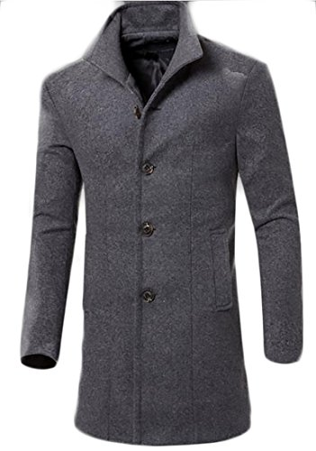 ainr Mens New Business Classic Single-breasted Slim Fit Long Wool Pea Trench Coat Grey XS