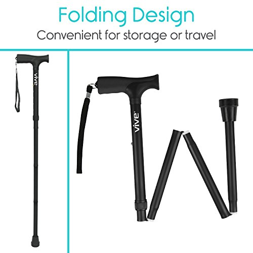 Vive Folding Cane - Foldable Walking Cane for Men, Women - Fold-up, Collapsible, Lightweight, Adjustable, Portable Hand Walking Stick - Balancing Mobility Aid - Sleek, Comfortable T Handles (Black) by VIVE (Image #4)