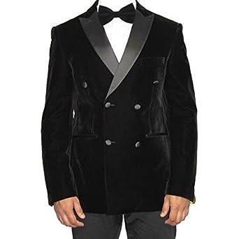 Robelli Herren schwarz SAMT Zweireihig Blazer Anzug Jacke