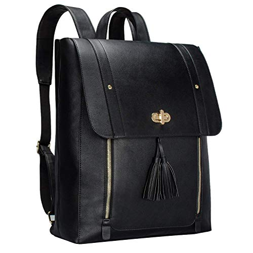 Bertasche Womens PU Leather Laptop Backpack 14 inch Computer Bookbag for College Work - Black
