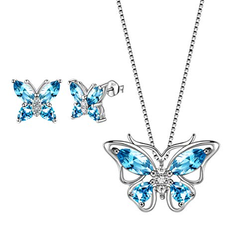 Aurora Tears Blue Butterfly Jewelry Sets Women 925 Sterling Silver March-Aquamarine Birthstone Necklace/Earrings Butterflies Sets Girls Birth Stone Animal Jewellery Birthday Gift DS0035S from Aurora Tears