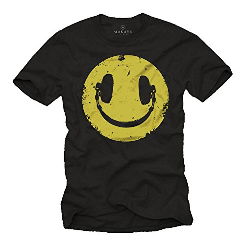MAKAYA Funny Smile Face T-Shirt with Headphones
