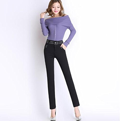 HRJPB New Korea Style Black Pants Women Slim Stitching Velvet Thickening Pants