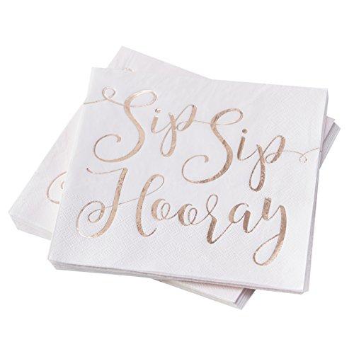 Ginger Ray BB-322 White & Rose Gold Hooray Paper Napkin-16 Pack