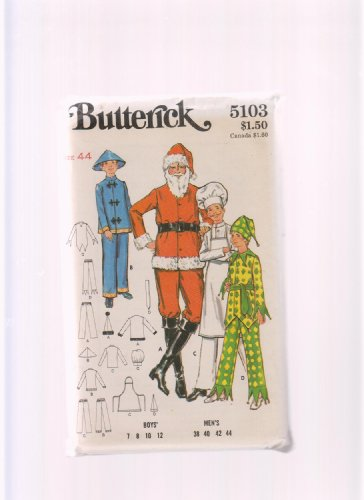 Butterick Sewing Pattern 5103 ; Halloween or Christmas Costume Santa Claus, Chef, Chinese, Jester ; Various Sizes Available - Jester Costume Pattern